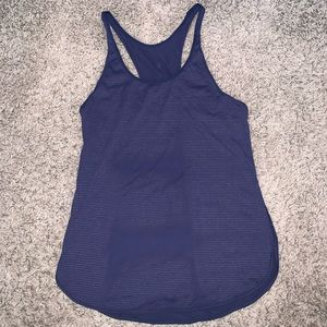 Lululemon Athletica blue microstriped singlet tank